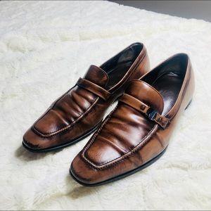 Salvatore Ferragamo Cognac Leather Men's Loafers